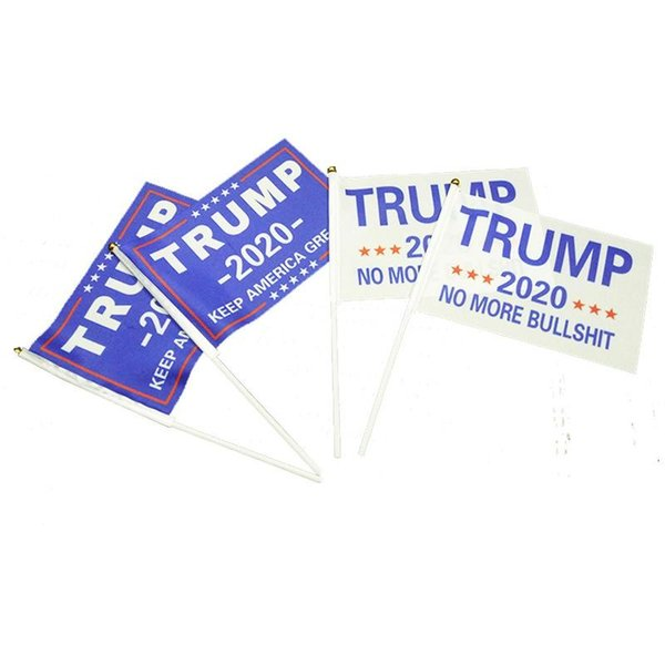 1000pcs 14x21cm Trump Flag Banner Donald Trump Flag Hand Waving Banner keep america great Mini Flag With Pole H0522