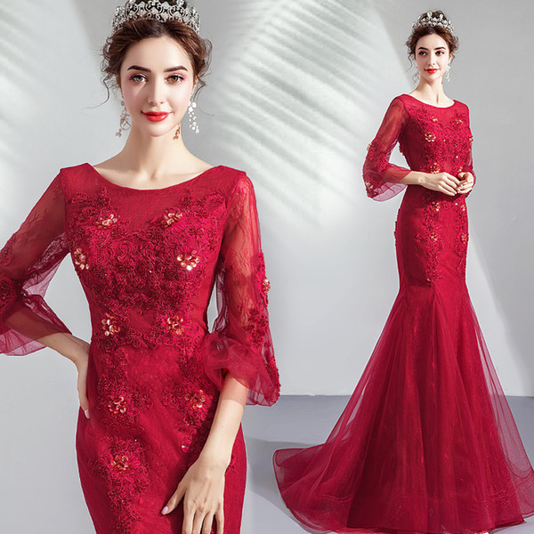 Burgundy Lace Mermaid 2019 Arabic Evening Dresses Scoop 3/4 Long Sleeves Beaded Prom Dresses Vintage Sexy Formal Party Bridesmaid Gowns