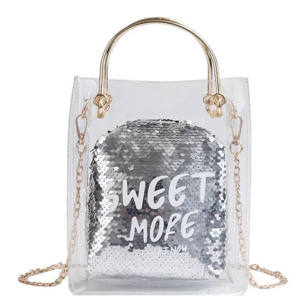 Summer Transparent Composite Tote Bag Sequins Beach Handbag Chain Messenger Bag For Women  Designer Ladies Shoulder Bags