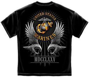 ABD Deniz Piyadeleri T Gömlek USMC Marines Bayrak Kurdu 1775 Marka Tee S-XL XXL XXXL