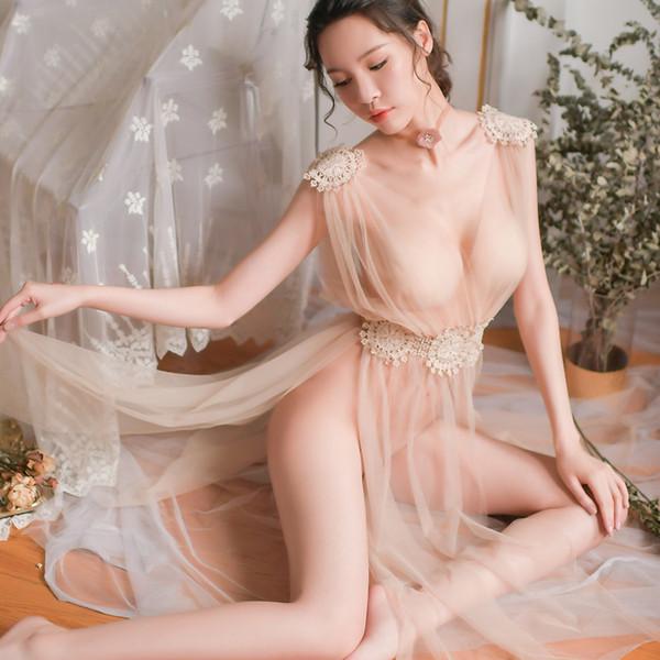 Sexy Dessous Elegante Frauen Neue Ultradünne Gaze Sheer Homewear Langes Kleid Vintage Nachthemden Nacht Nachtwäsche Intimates