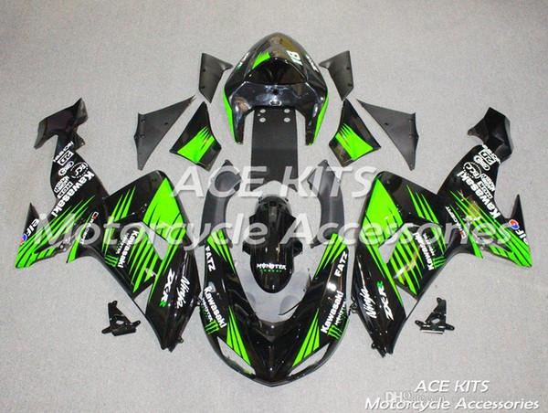 3 Cadeaux gratuits Nouvel ABS Carénage Vélo Kits 100% Fitment Pour Kawasaki Ninja ZX10R 2006 2007 10R 06 07 Carrosserie ensemble Noir Vert