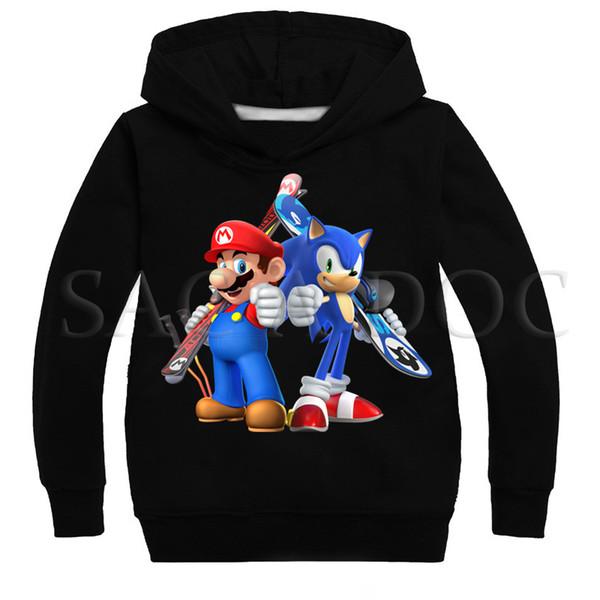 Acheter Dessin Animé Super Sonic Mario Enfants Hoodies Garçons Filles Mode Sweat Automne Hiver Casual Pull À Capuche Enfants Meilleur Cadeau J190523