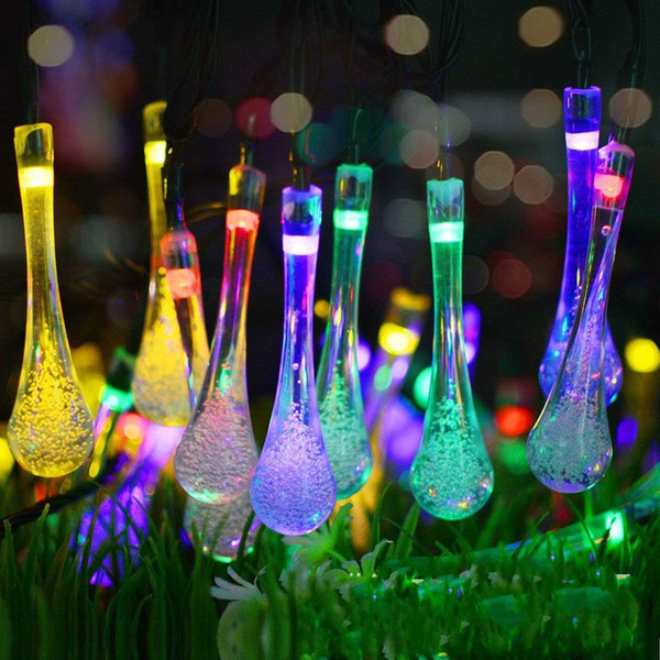 Solar Powered Christmas String Lamp 20 30 Bulbs Water Drop Led Lights Colorful Lantern For Wedding Celebration Supplies 22 8mt E1