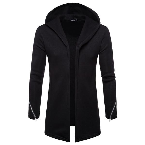 Nuevo otoño invierno hombres cardigan abrigo de color puro con capucha estilo europeo americano trench dropshipping regalo top coat ropa de moda