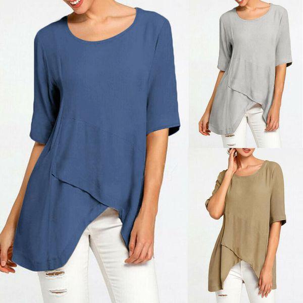 women early autumn half sleeve linen  crossed hem shirt ladies holiday t shirt plus size