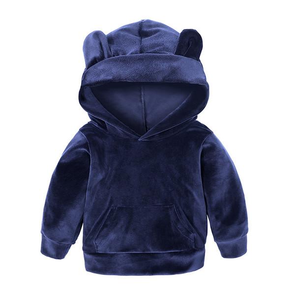 Ropa deportiva para niños, color sólido, traje con capucha, invierno, niños y niñas, suéter con capucha, moda coreana, viento casual.