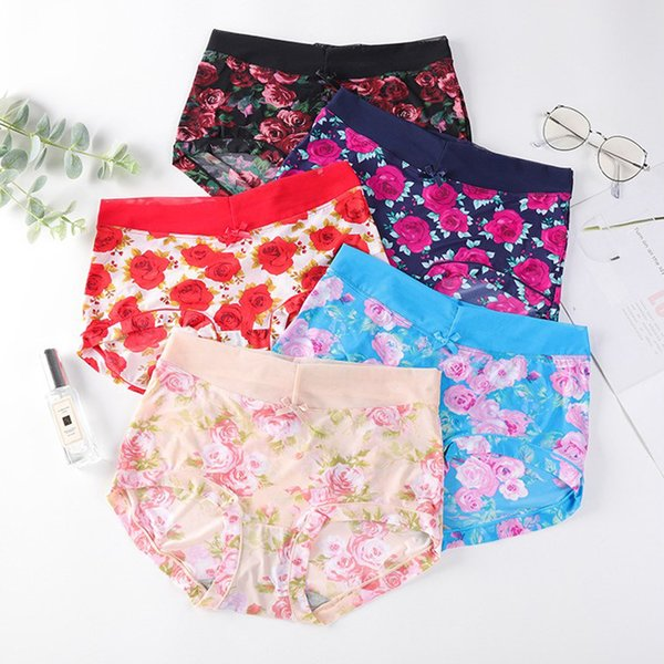 Free Shipping 100pcs/Pack Sexy Briefs for Women Plus Size Ice Silk Woman Panties Floral Printed Pattern Breathable Briefs