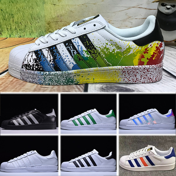 low priced 9f1e6 b9152 2018 Superstar Original White Hologram Iridescent Junior Gold Superstars  Sneakers Originals Super Star Women Men Sport