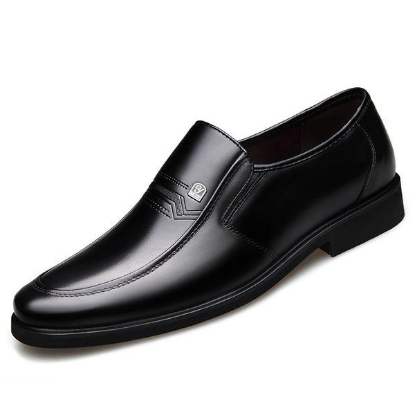 Dropshipping 2019 New Design Fashion Black Split Leather Man Dress Shoes Men Formal Party Wedding Comfortable Shoes DB001 #56246