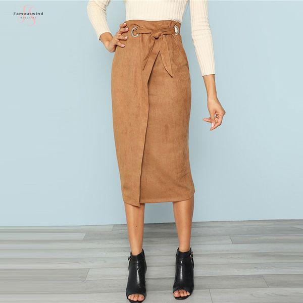 Brown Tie Waist Bodycon Work Skirt Zip Back Midi Mid-Calf Wrap Knot Split Back Women Elegant Autumn Pencil Skirt