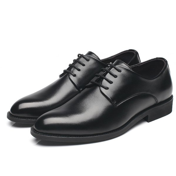 Moda Erkekler Elbise Ayakkabı Deri Oxford erkekler için gizli topuk Ayakkabı 2019 Marka Casual İş Örgün Düğün Erkekler Ayakkabı Lace Up