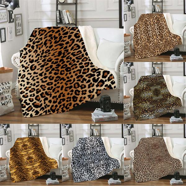 top popular 12styles lepard printed blanket 3D car office Winter Blankets Swaddling Bedding Quilt Nap Blanket Xmas Home carpet 150*130cm FFA2868 2019