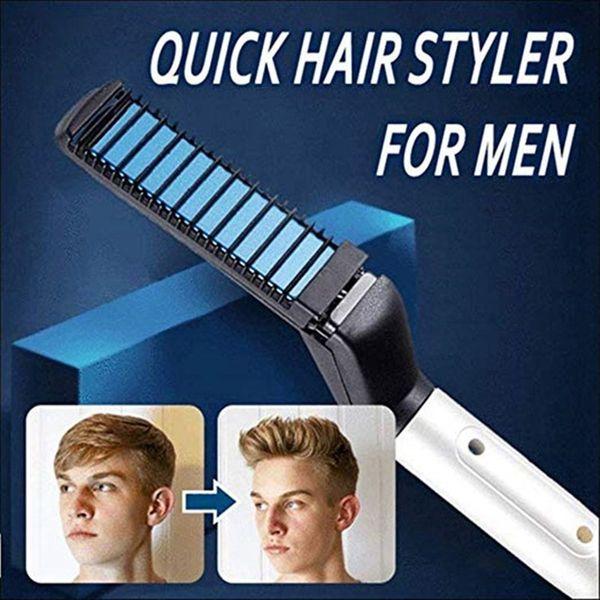 1 шт Многофункциональный расческа волос Curling Iron выпрямления волос бигуди для укладки инструмента Combs электрическая щетка для мужчин