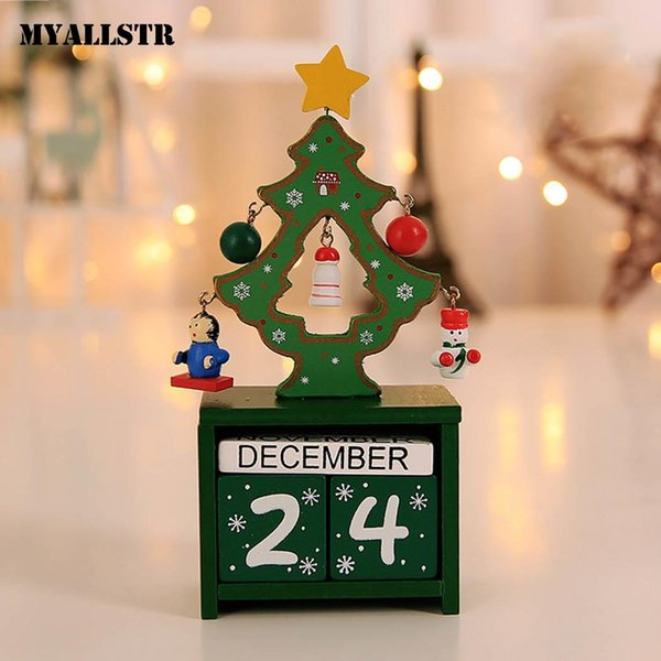 Wooden Christmas Home Decorations White for Red Ornaments Party Green Calendar Table Christmas Calendar