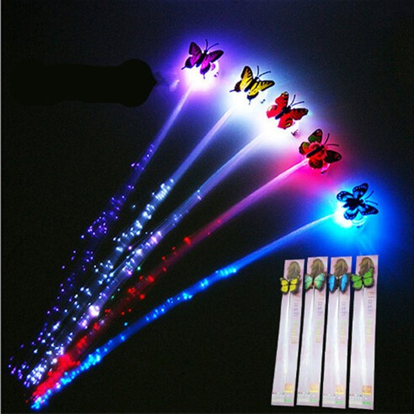 1 pcs Glow Blinking Hair Clip Flash LED Decoration Colorful Luminous Braid Optical Fiber Wire Hairpin Christmas gift diy