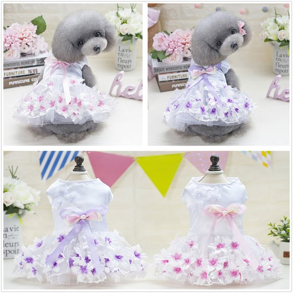 2pcs Pet clothing pet dog clothes pet dresses Double heart flower skirt clothing spring and summer cool dress casual sexy princess skirts