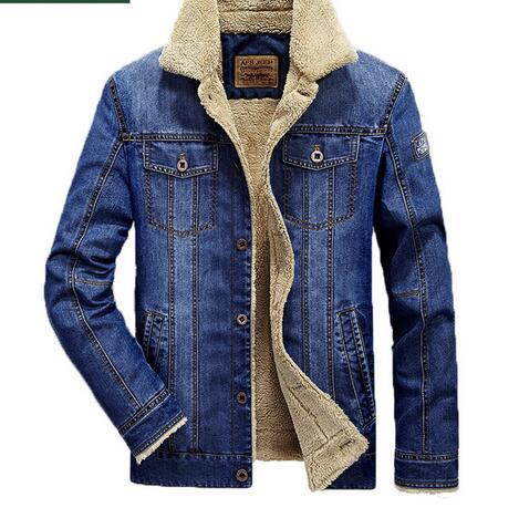 Talla grande M-6XL Chaqueta de mezclilla de moda Hombre Forro de lana de invierno Chaquetas para hombre cálidas Marca Outwear Jeans Abrigos Ropa de vaquero masculino