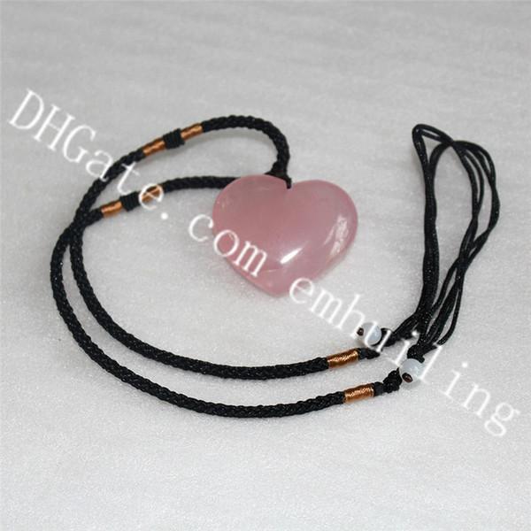 10pcs fait à la main magnifique rose naturelle rose cristal de quartz rose pendentif coeur collier réglable corde chaîne pierre polie amour collier coeur