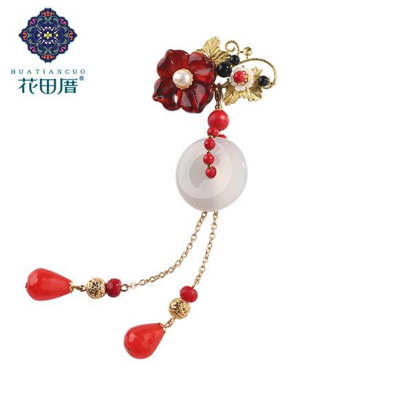 Ethnic Round Jad e Tassel Brooch for Women Grape Leaves Red Lampwork Flower Shell Daisy Dangle Tassel Women Brooch XZ-18016