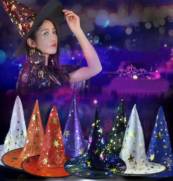 Adult Womens Mens Witch Hat For Halloween Costume Accessory Stars Printed Cap magic Witch Funny Spiked Women HAT L*5