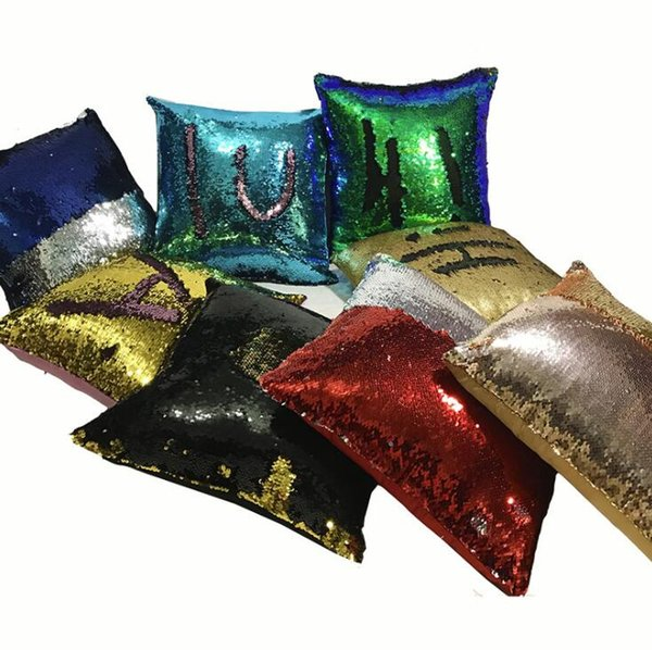 """Reversible Sequin Throw pillow covers Mermaid Sequin Pillow case Magic Bling Glitter color Changing Sofa Cushions Cover 16""""*16"""" Home Decor"""