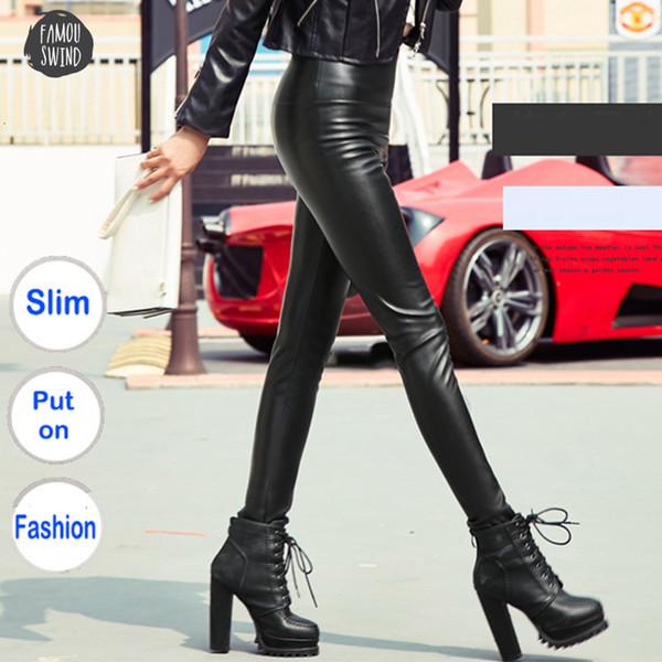 Зима брюк Осень Женщины Тонкий Velvet Упругие Pu кожаные штаны Женщины Sexy Stretch Кожезаменитель Тощий Карандаш Pant Женщины Tight