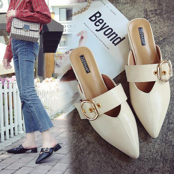 Moda Concisa Lazer Fechado Toe Slides para Mulheres Verão Med Chinelos Chinelo de Salto Fivela Sapatos Sólidos