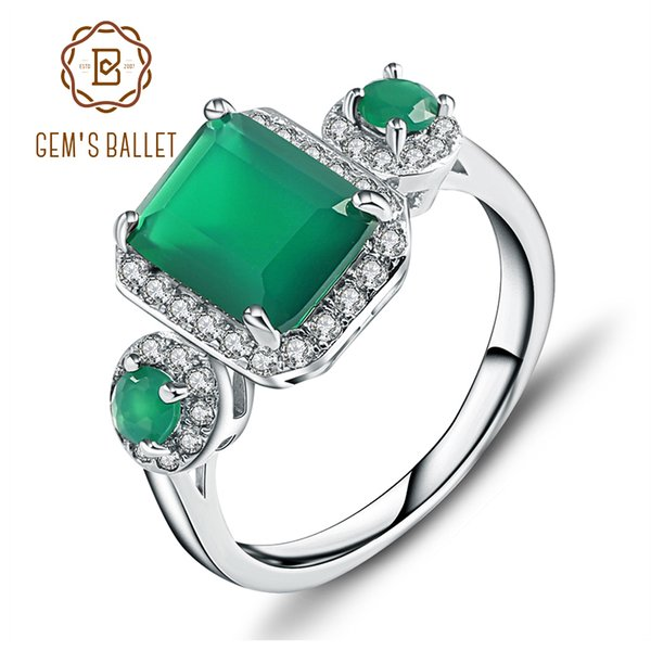 Gem's Ballet 2.28ct Emerald Cut Natural Green Agate Gemstone Vintage Rings Solid 925 Sterling Silver Fine Jewelry For Women J 190430