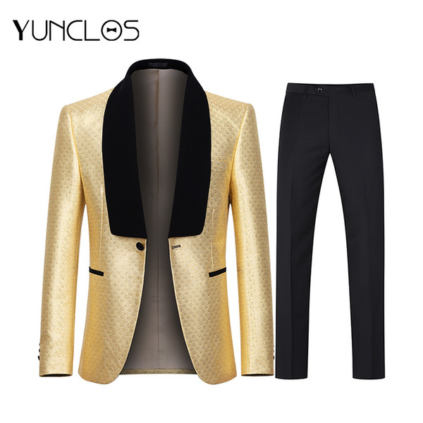 YUNCLOS 2019 Gold Velveteen Scale Print Dress Tuxedos Party Jacket Men One Buckle Wedding Suits For Men Banquet Dress Suits