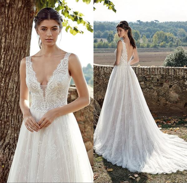 Sexy V Cut Backless Lace Wedding Dresses Plunging V Neck Appliques A Line Bridal Gown Sweep Train vestido de novia
