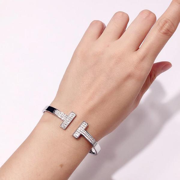 brazalete de acero inoxidable de moda de doble T con la pulsera de la joyería del diamante del manguito oro de 18K Rose brazaletes en láminas para la pulsera de regalo aman a las mujeres no logo
