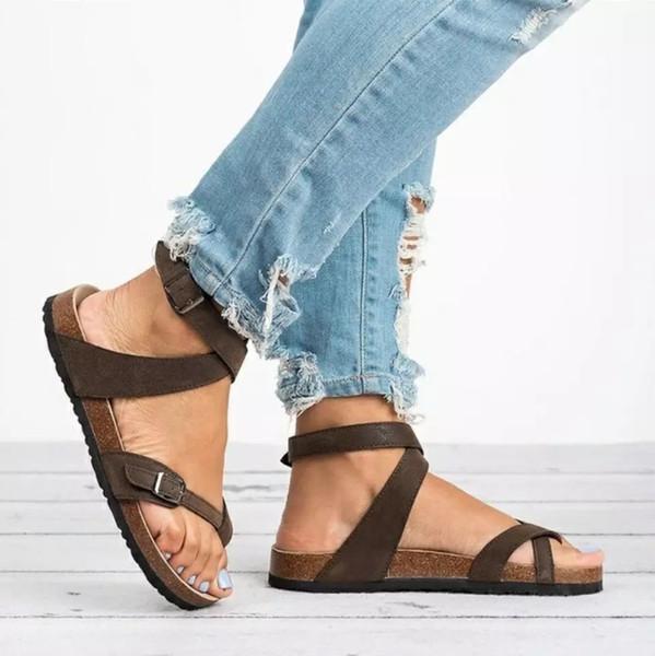 Sandales Vente-Leopard plat chaud Toe spartiates Chaussures Femmes Bandage Sandales plates confortables chaussures grande taille 2019 nouvelle