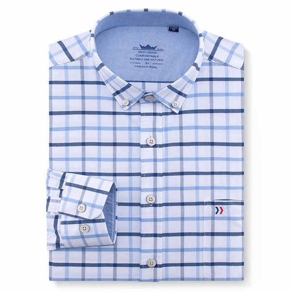 Men's Oxford Checkered Long Sleeves Casual Shirts Single Chest Pocket Button Down Collar Regular-fit Social Shirt Male Clothing #388999