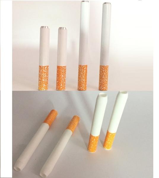 DHL Free 100 Pcs lot 78mm&55mm Cigarette Shape Smoking Pipes Cheap Hitter Pipe Yellow Filter Metal Aluminum Smoke VS Ceramic Cigarette Hitte