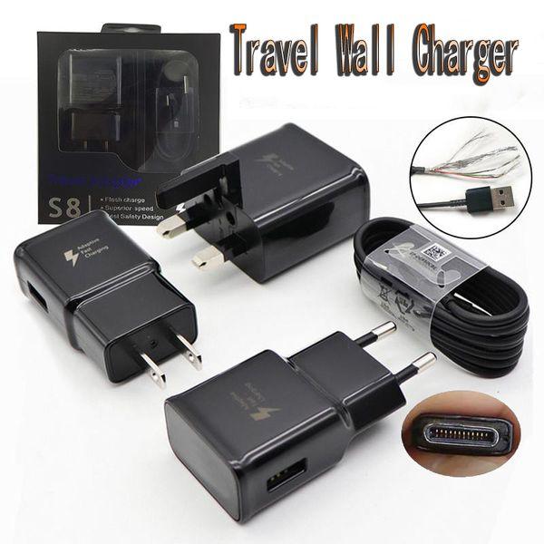 2 en 1 adaptador de cargador de pared Cargadores de viaje de carga de carga rápida y cable de datos micro USB de 1.2M para Samsung Galaxy S7 S8 con paquete de venta