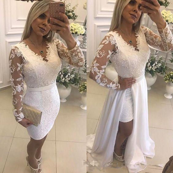 Мода белый жемчуг короткие свадебные платья партии со съемной юбкой иллюзия длинными рукавами кружева формальные прополка платья на заказ