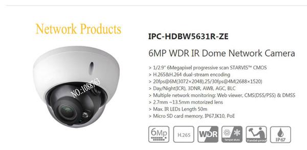 In IP Camera da Diritti sicurezza macchina fotografica di trasporto 6MP WDR IR Dome di rete con il POE IP67 IK10 con logo DH-IPC-HDBW5631R-ZE
