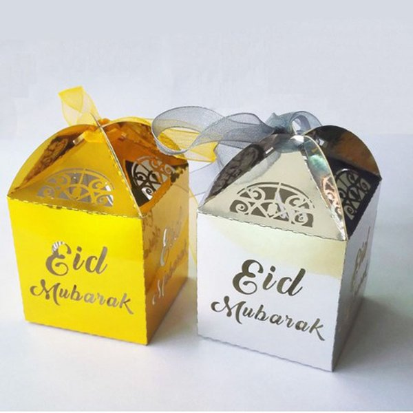 Gold Silver Happy Eid Mubarak Candy Box Ramadan Decoration Laser Cut Pearl Paper Candy Boxes Party Kids Favors QW9416