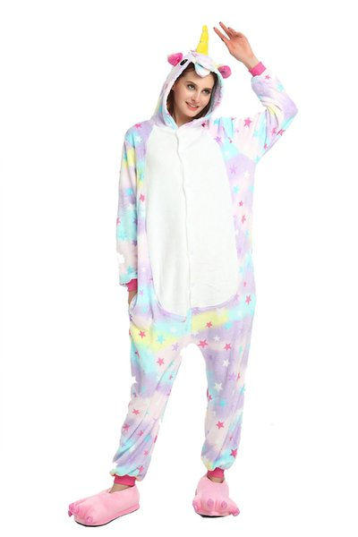 Colorful Stars Women Unicorn Fleece Pajamas Long Sleeves Hooded Adults Home Wear Mascot Costumes Sleep Wear Night Party Wear Warm