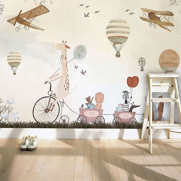 Custom 3D photo wallpaper cartoon hand painted hot air balloon mural Children room sofa background wallpaper
