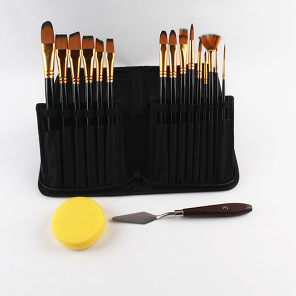 15 piece paint brush set with Free Palette Knife Watercolor Sponge and Pop up Carrying Case for Acrylic Watercolor Oil Painting Artist