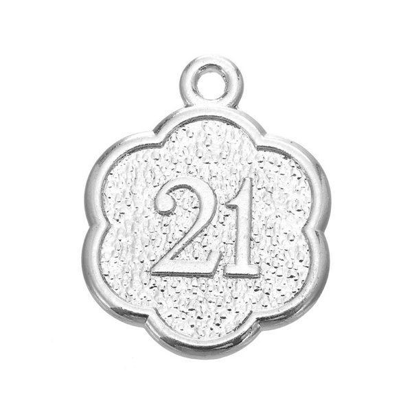 50PCS DIY Dangle Jewelry Tibetan Silver Days To Remember Number 21 Charms Jewelry Making Wholesale For Girl Jewelry Accessories
