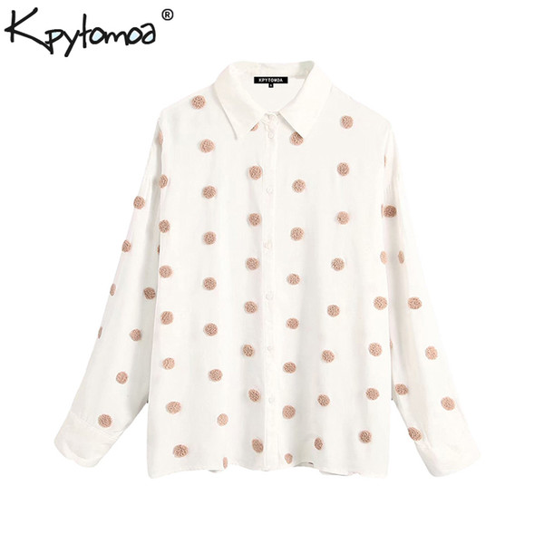 Vintage Stylish Embroidered Polka Dot Loose Blouses Women 2019 Fashion Lapel Collar Long Sleeve Shirts Chic Tops Blusas Mujer
