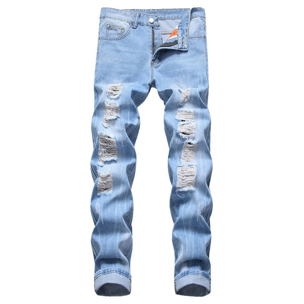 MJARTORIA 2019 New Summer Mens Straight Distressed Biker Ripped Slim Fit Denim Casual Cotton Street Style Loose With Hole jeans