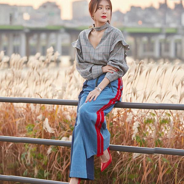 Boyfriend Jeans Mujeres Piernas Anchas Jeans 2019 Fasion Cintura Alta Terciopelo Spliced Denim Streetwear Mujeres de longitud completa pantalones de mezclilla