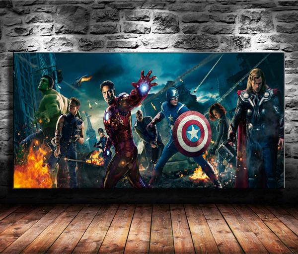 The Avengers 2 Superheroes,Hulk Iron Man,1 Pieces Canvas Prints Wall Art Oil Painting Home Decor (Unframed/Framed) 24x48.