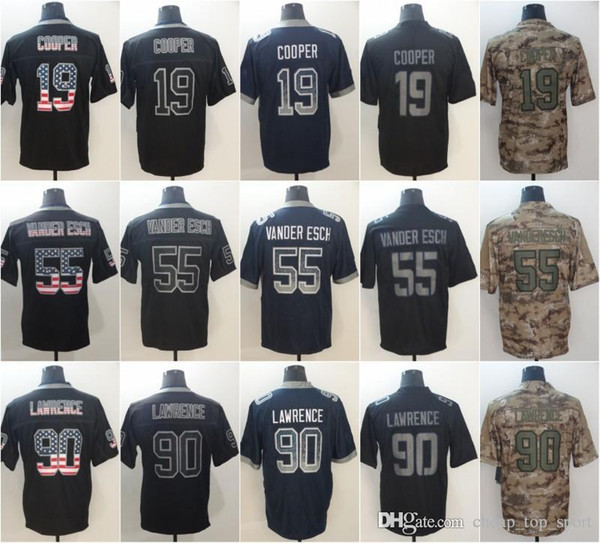 100% authentic 62bb9 f822b 2019 Leighton 55 Vander Esch Dallas Jerseys DeMarcus 90Lawrence Cowboys  2018 USA Flag Fashion Impact Lights Out Black Rush Camo Salute To Service  From ...