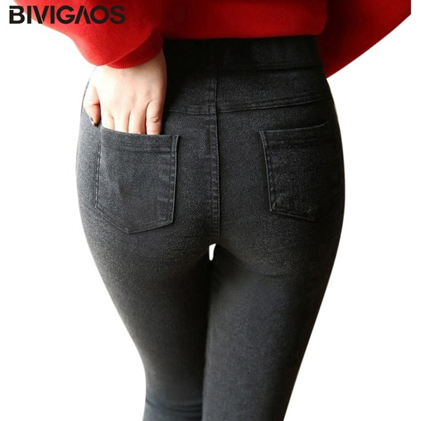 Bivigaos Moda Feminina Casual Fino Estiramento Denim Jeans Leggings Jeggings Lápis Calças Finas Skinny Leggings Jeans Roupas Femininas Q190430