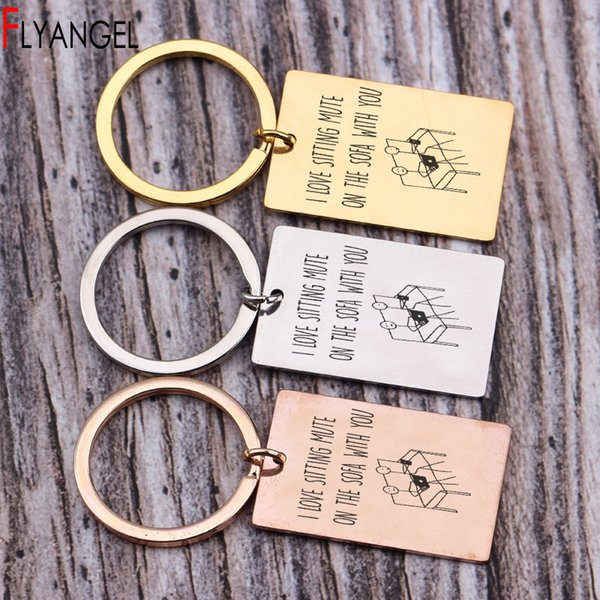 New Design Stick Figure Key Chains Engraved I Love Sitting Mute On The Sofa With You Key Chains Keyring Couples Boy/girlfriend